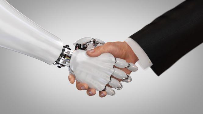 robot human shaking hands - small